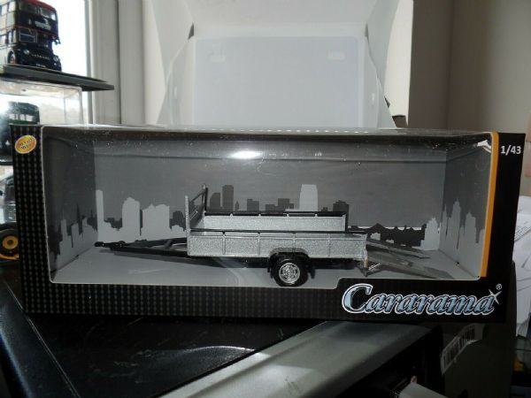 Cararama 251PND-TT 1/43 O Scale Car Trailer Single Axle Silver with Ramps